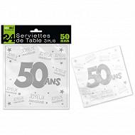 Serviettes de table 50 ans 3 plis x24