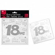 Serviettes de table 18 ans 3 plis x24