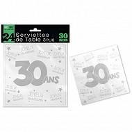 Serviettes de table 30 ans 3 plis x24