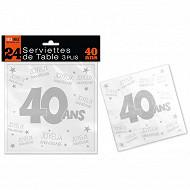 Serviettes de table 40 ans 3 plis x24