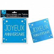 Serviettes de table bleu acoean anniversaire 3 plis x24