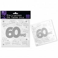 Serviettes de table 60 ans 3 plis x24