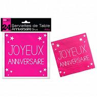 Serviettes de table fuchsia anniversaire 3 plis x24