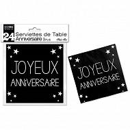 Serviettes de table noir pur anniversaire 3 plis x24