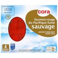Cora saumon rouge du Pacifique fumé sauvage 4 tranches minimum avec intercalaires 120g