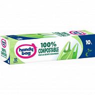 10 sacs poubelle poignées à nouer 10l 100% compostable handy bag