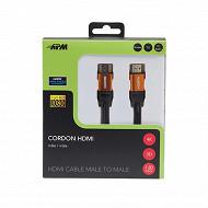 Apm Câble hdmi m/m 1.4 noir plug jaune or 1.80m 590466