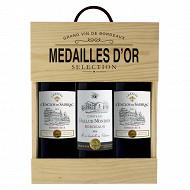 Coffret bois Bordeaux 3x75cl Vol. 13.5%