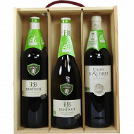Coffret bois vins bio 3x75cl