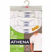 Tee shirt manches courtes col rond lot de 2 + 1 offert Athena 1951 BLANC/BLANC/BLANC T6