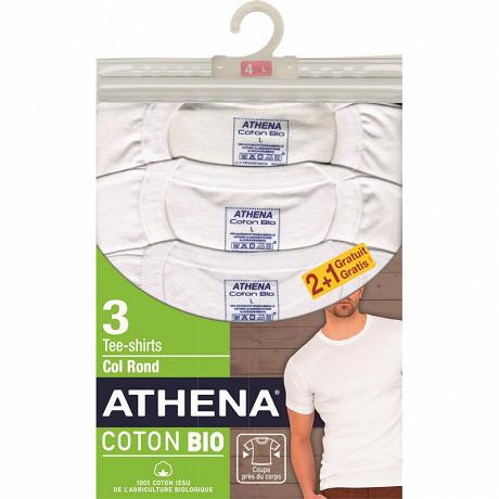 Tee shirt manches courtes col rond lot de 2 + 1 offert Athena 1951 BLANC/BLANC/BLANC T5
