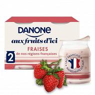Danone aux fruits d'ici fraise 2x145g