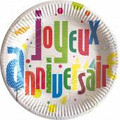 Assiettes x6 joyeux anniversaire 23cm