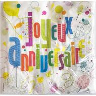 Serviettes x20 joyeux anniversaire 33x33cm