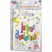 Sacs a bonbons x6 joyeux anniversaire