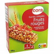 Cora barres de céréales fruits rouges 6 x18g