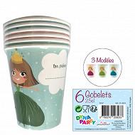 Gobelets x6 princesse licorne 25cl