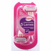 Cora rasoirs jetables feminin 5 lames x3