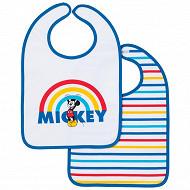 Lot de 2 bavoirs 1er âge imprimés 25x36cm scratch mickey rainbow Disney baby