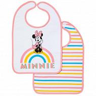 Lot de 2 bavoirs 1er âge imprimés 25x36cm scratch minnie rainbow Disney baby