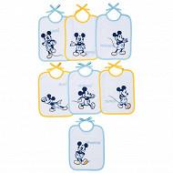Disney baby lot de 7 bavoirs 20x25cm journalier Mickey lacets