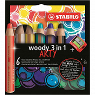 6 crayons multi-talents Stabilo woody 3 in 1 arty + 1 taille-crayon