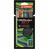 12 crayons de coloriage stabilo green colors arty