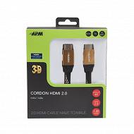 Apm Cordon hdmi 2.0 ultra hd 4k ethernet m/m plug métal nylon bicolore