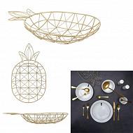 Corbeille filaire ananas doré