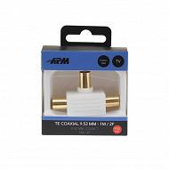 Apm Adaptateur Te coaxial 9.52mm (1mâle+2femelles)