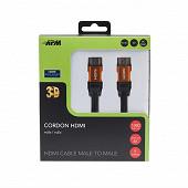 Apm Cordon hdmi 4k ethernet m/m noir plug or 5 mètres 590468