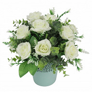 Rose sauvage eucalyptus en pot dentelle 022x21 cm