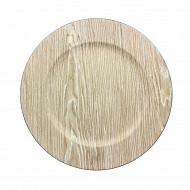 Assiette hotesse 33cm effet bois