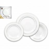 Service 18 pièces aile en porcelaine avec double lisère or