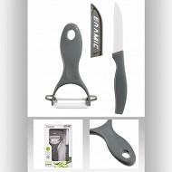 Lot couteau avec éplucheur en céramique
