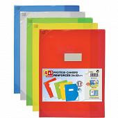 Elba lot de 4 +1 protège cahier schoollife 24X32 pvc 15/100 rabat transparent assorti