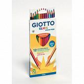 Giotto etui 12 crayons de couleur elios wood free