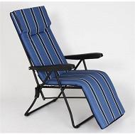 Fauteuil relax accoudoirs 6 posisitons 148x60x60 cm argos bleu