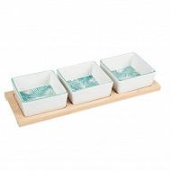 Coupelle porcelaine x3 + plat bambou