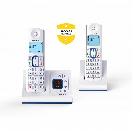 Alcatel Téléphone sans fil répondeur F630 VOICE  DUO BLEU
