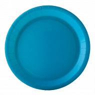 Assiettes x10 turquoise 22cm carton biodégradable