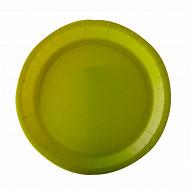 Assiettes x10 vert anis 22cm carton biodégradable