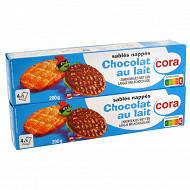 Cora Kido sablés nappés au chocolat au lait 400g lot de 2