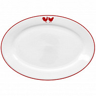 Plat ovale 30.5x21.5cm porcelaine décor poule