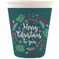 Gobelets x6 carton merry christmas 25cl