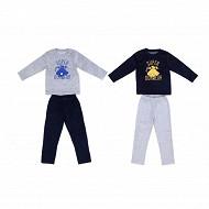 Pyjama long velours garçon GRIS CHINE 8ANS