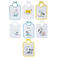 Lot de 7 bavoirs 20x25cm journalier Mickey little one lacets Disney Baby