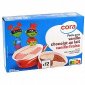 Cora petit pot x12 vanille/fraise-vanille/chocolat 368g