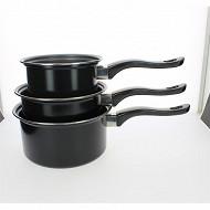 Lot de 3 casseroles 14,16 et 18cm en acier revetu