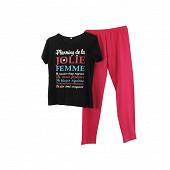 Pyjama long manches courtes NOIR PLANNING T46/48